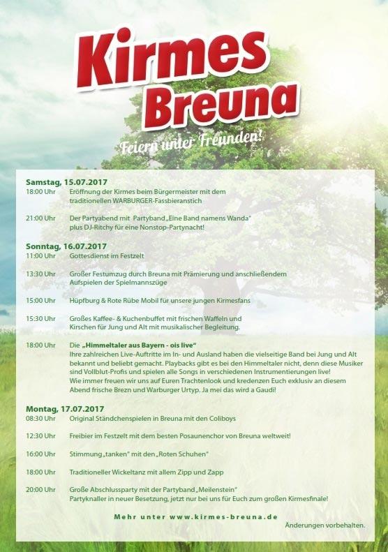 Festprogramm Kirmes Breuna 2017