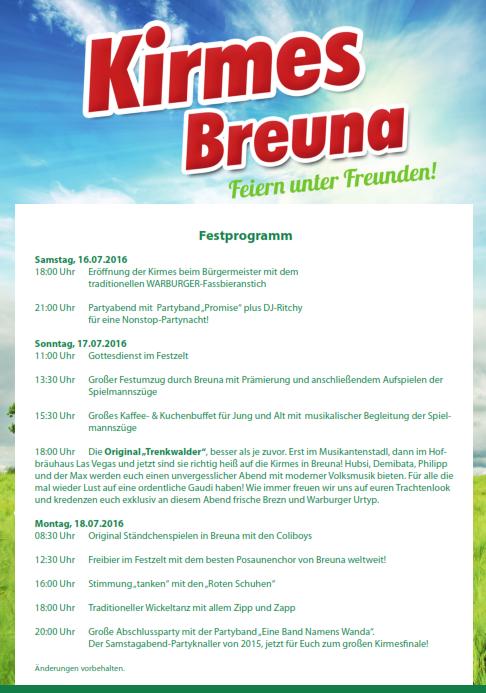 Kirmes Breuna Festprogramm 2016